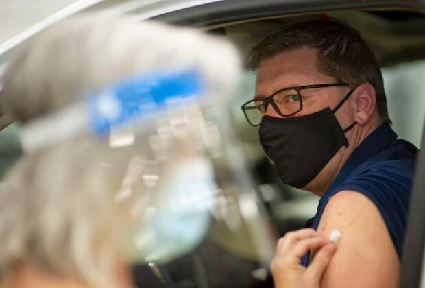 Premier Scott Moe received his first dose of vaccine at the drive-thru clinic at Evraz Place in Regina on April 15. According to government and opposition staff, 60 of the 61 MLAs have received at least one dose and the remaining MLA has appointment booked.