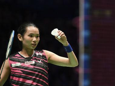 Tai Tzu-ying prepares to serve against Akane Yamaguchi in the women's singles final at the All England Open 2018. AFP