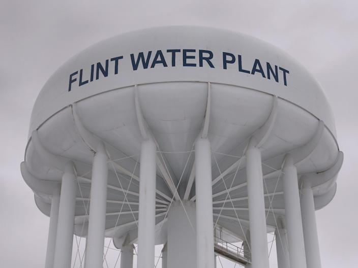 A water tower at the Flint Water Plant in Flint, Michigan.