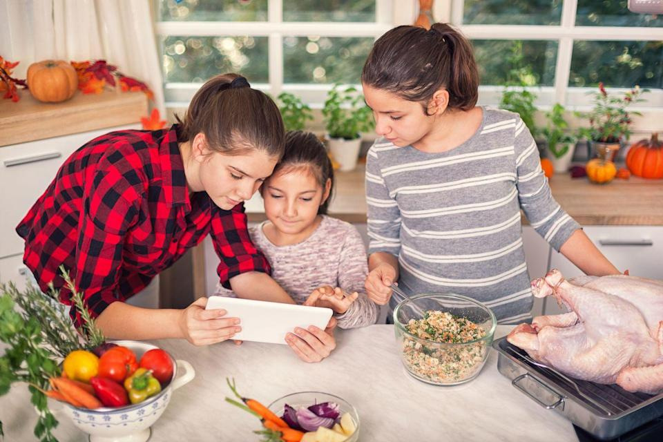 """<p>While many of us are sick of Zoom parties at this point, it's hard to spend Thanksgiving without family. Make the call a little more special by adding in an activity, like turkey preparation or a Thanksgiving-themed quiz (use <a href=""""https://www.townandcountrymag.com/leisure/a12779428/why-we-celebrate-thanksgiving-facts/"""" rel=""""nofollow noopener"""" target=""""_blank"""" data-ylk=""""slk:these facts"""" class=""""link rapid-noclick-resp"""">these facts</a> for inspiration). </p>"""