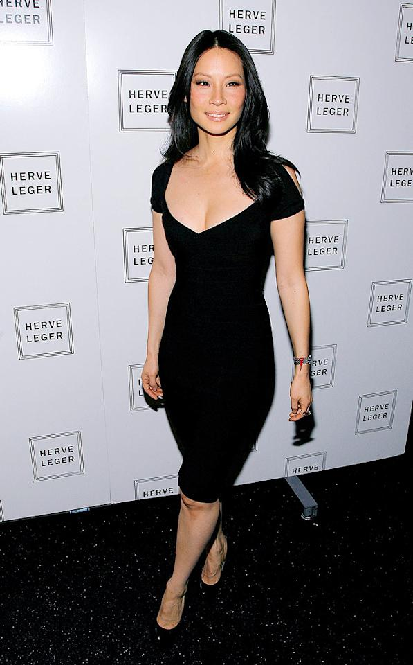 """Lucy Liu was sexy yet sophisticated in a plunging black Herve Leger bandage dress and minimal makeup at New York's Fashion Week. Jemal Countess/<a href=""""http://www.wireimage.com"""" target=""""new"""">WireImage.com</a> - February 15, 2009"""