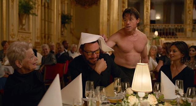 Terry Notary monkeys around with Dominic West in <em>The Square</em> (Photo: Magnolia Pictures /Courtesy Everett Collection)