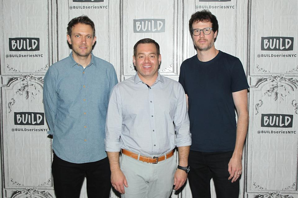 """NEW YORK, NEW YORK - AUGUST 22: (L-R) Matt Bettinelli-Olpin, Chad Villella, Tyler Gillett attend the Build Series to discuss """"Ready or Not"""" at Build Studio on August 22, 2019 in New York City. (Photo by Jim Spellman/Getty Images)"""