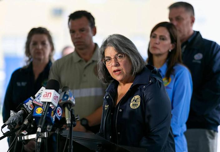 Miami-Dade County Mayor Daniella Levine Cava speaks to the media about the collapsed Champlain Towers South recovery mission in Surfside, Florida, on Monday, July 12, 2021.