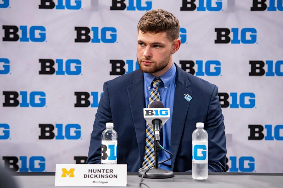 Michigan's Hunter Dickinson addresses the media during the first day of the Big Ten basketball media days, Thursday, Oct. 7, 2021, in Indianapolis.