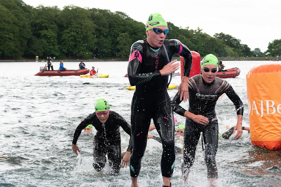 Holland finished 31st in Hamburg, but left the water in 12th. Credit: British Triathlon