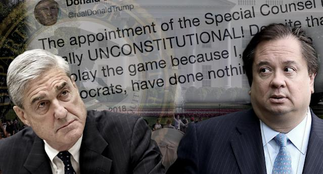Robert Mueller, George T. Conway III. (Photo illustration: Yahoo News; photos: J. Scott Applewhite/AP, Chip Somodevilla/Getty Images, Donald Trump via Twitter, AP, George Rose/Getty Images)