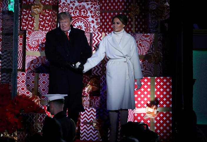 President Trump and first lady Melania Trump at the National Christmas Tree lighting ceremony in Washington on Wednesday. (Photo: Mark Wilson/Getty Images)