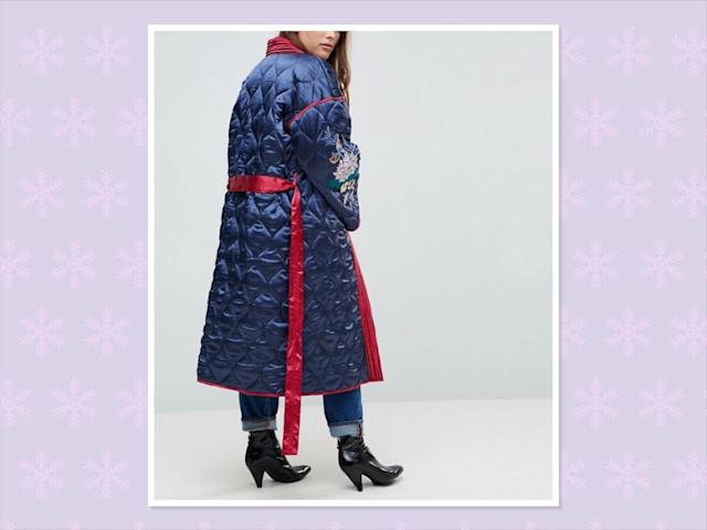 """<p>Glamorous Curve wrap jacket in quilted satin, $103, <a href=""""http://us.asos.com/glamorous-curve/glamorous-curve-premium-wrap-jacket-in-quilted-satin-with-floral-embroidery/prd/8779127?clr=navy&SearchQuery=&cid=9582&pgesize=104&pge=0&totalstyles=104&gridsize=3&gridrow=13&gridcolumn=2"""" rel=""""nofollow noopener"""" target=""""_blank"""" data-ylk=""""slk:ASOS"""" class=""""link rapid-noclick-resp"""">ASOS</a> (Photo: ASOS) </p>"""