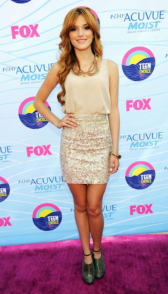 Actress Bella Thorne arrives at the 2012 Teen Choice Awards at Gibson Amphitheatre on July 22, 2012 in Universal City, California.