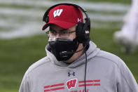 Wisconsin head coach Paul Chryst watches his team during the first half of an NCAA college football game against Northwestern in Evanston, Ill., Saturday, Nov. 21, 2020. (AP Photo/Nam Y. Huh)