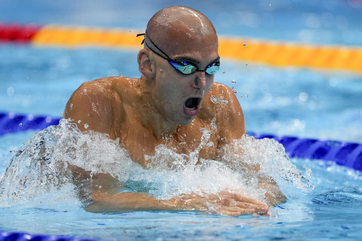 Laszlo Cseh, of Hungary, swims in a men's 200-meter individual medley semifinal at the 2020 Summer Olympics, Thursday, July 29, 2021, in Tokyo, Japan. (AP Photo/Martin Meissner)