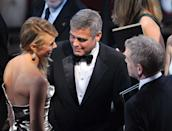 HOLLYWOOD, CA - FEBRUARY 26: (L-R) Stacy Keibler, actor George Clooney and actor Kenneth Branagh attend the 84th Annual Academy Awards held at the Hollywood & Highland Center on February 26, 2012 in Hollywood, California. (Photo by Kevin Winter/Getty Images)