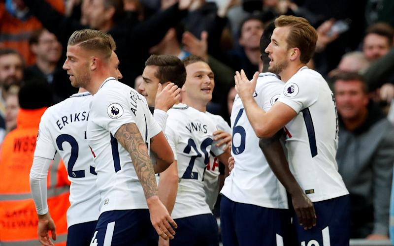 Tottenham's Harry Kane and his team-mates celebrate going 4-1 up - Action Images via Reuters