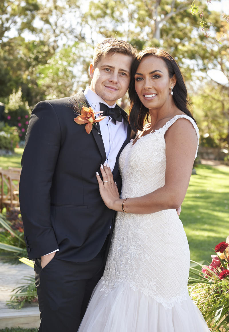MAFS bride and groom Natasha Spencer and Mikey Pembroke on their wedding day. Photo: Channel Nine.
