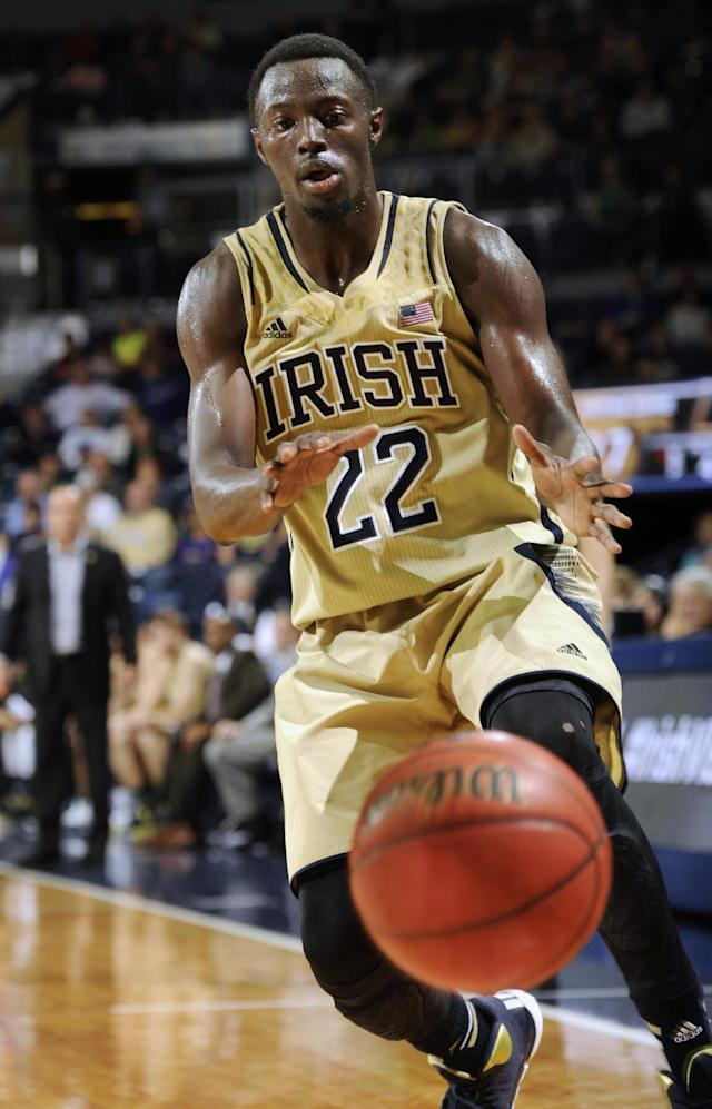 Notre Dame guard Jerian Grant throws a pass during the first half of an NCAA college basketball game against Indiana State, Sunday, Nov. 17, 2013, in South Bend, Ind. (AP Photo/Joe Raymond)