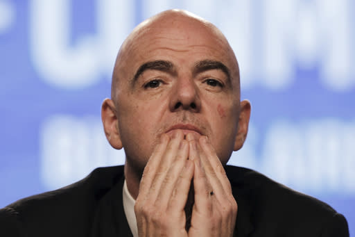 FIFA President Gianni Infantino participates in the annual conference of the South American Football Confederation, CONMEBOL, in Buenos Aires, Argentina, Thursday, April 12, 2018. The governing body of South American soccer has asked FIFA to expand the World Cup to 48 teams for the 2022 tournament in Qatar. (AP Photo/Martin Ruggiero)