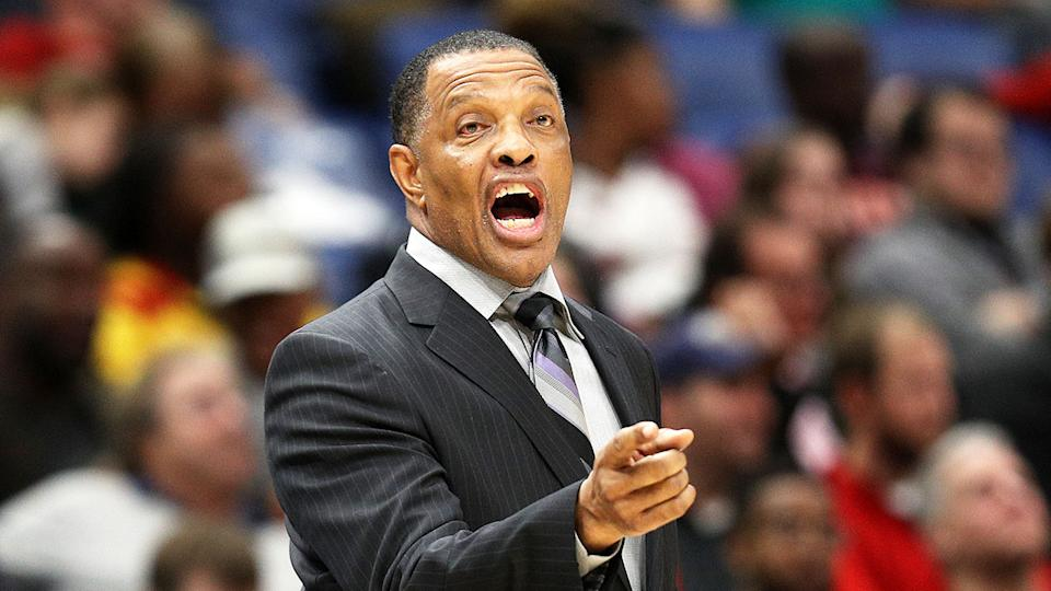 Pictured here New Orleans Pelicans coach Alvin Gentry barks instructions at his players.