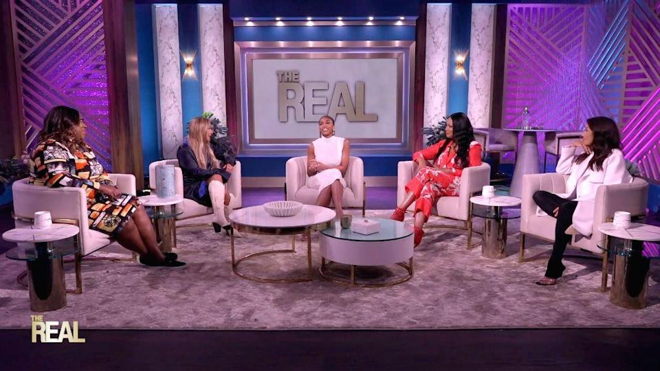 """Lori Harvey (C) sits down on """"The Real,"""" Sept. 20. - Credit: Courtesy of The Real"""