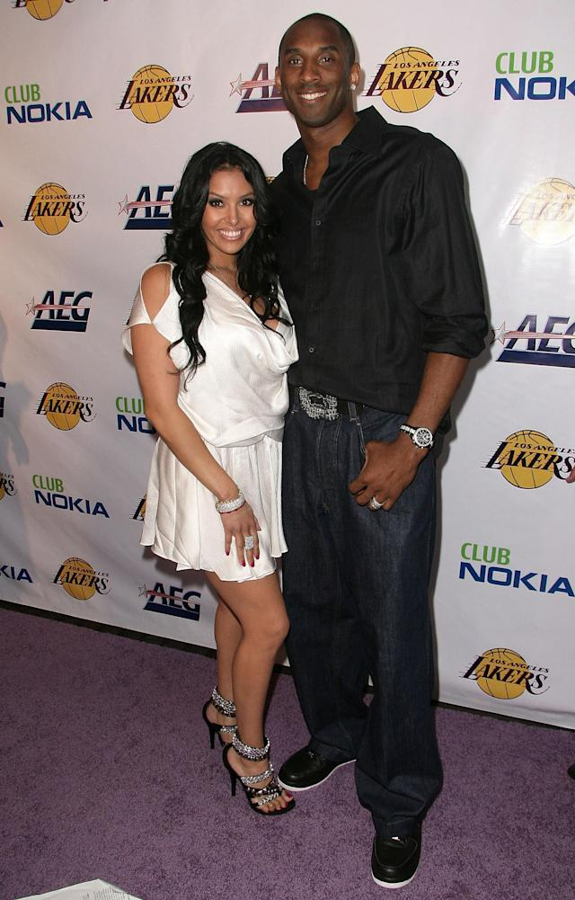 LOS ANGELES, CA - FILE: Vanessa Bryant and NBA player Kobe Bryant arrive at the Los Angeles Laker's official championship victory party at Club Nokia on June 18, 2009 in Los Angeles, California. According to reports, Vanessa Bryant has filed for divorce from her husband of over 10 years, Kobe Bryant on December 16, 2011. (Photo by Alberto E. Rodriguez/Getty Images)