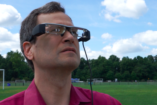 David Pogue wearing Epson Moverio BT200 glasses