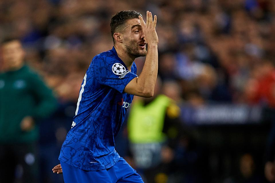 VALENCIA, SPAIN - NOVEMBER 27: Mateo Kovacic of Chelsea celebrates his side's first goal during the UEFA Champions League group H match between Valencia CF and Chelsea FC at Estadio Mestalla on November 27, 2019 in Valencia, Spain. (Photo by David Aliaga/MB Media/Getty Images)