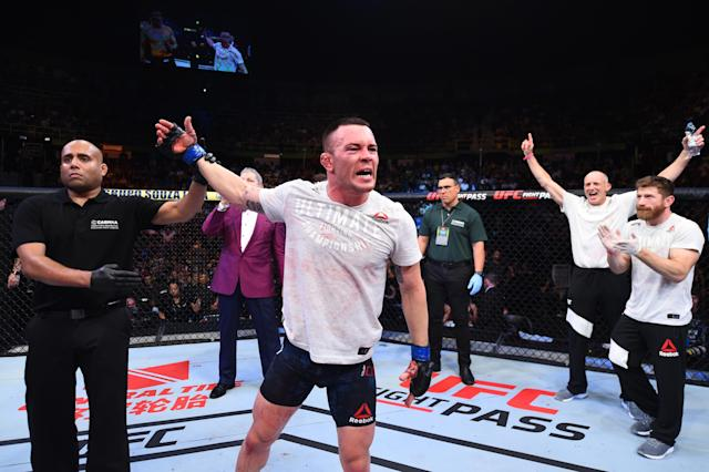 Colby Covington celebrates after defeating Demian Maia inside the Ibirapuera Gymnasium on Oct. 28, 2017 in Sao Paulo, Brazil. (Josh Hedges/Zuffa LLC via Getty Images)