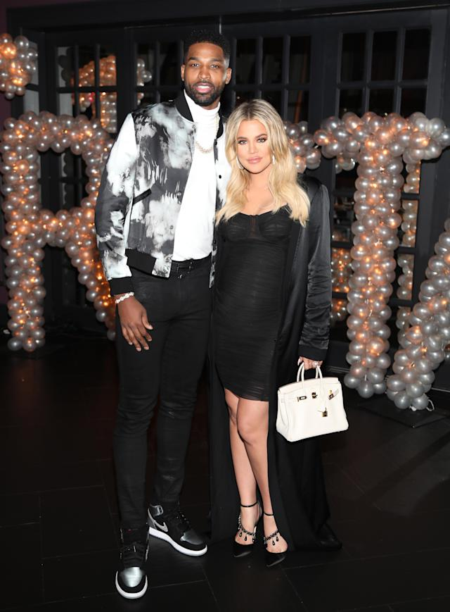 Khloé Kardashian with Tristan Thompson in March before rumors of his infidelity surfaced. (Photo: Jerritt Clark/Getty Images for Remy Martin)