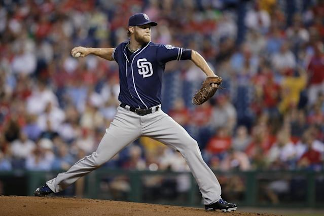 San Diego Padres' Andrew Cashner pitches during the first inning of a baseball game against the Philadelphia Phillies, Tuesday, Sept. 10, 2013, in Philadelphia. (AP Photo/Matt Slocum)