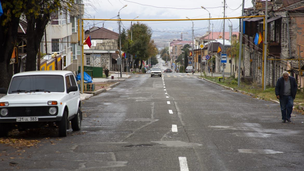 """<div class=""""inline-image__caption""""> <p>The streets of Stepanakert are empty. Most of the population has already fled.</p> </div> <div class=""""inline-image__credit""""> Emil Filtenborg </div>"""