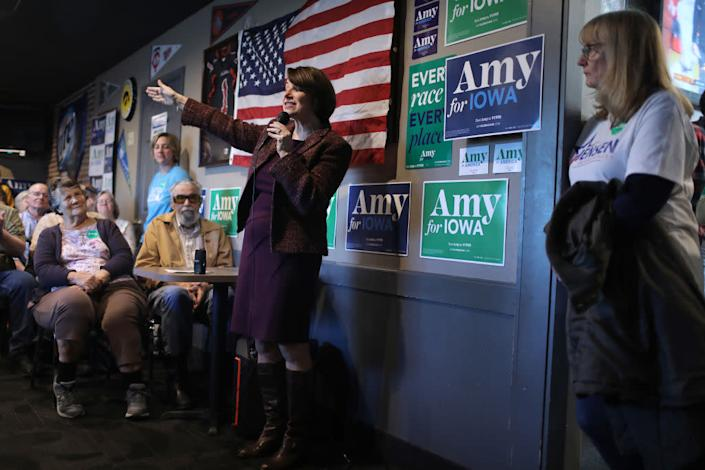 Klobuchar speaks during a campaign stop at Miller's Sports Bar and Restaurant on December 27, 2019 in Algona, Iowa. | Joe Raedle—Getty Images