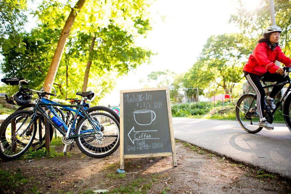 Coffee and bikes are never far away in Madison.