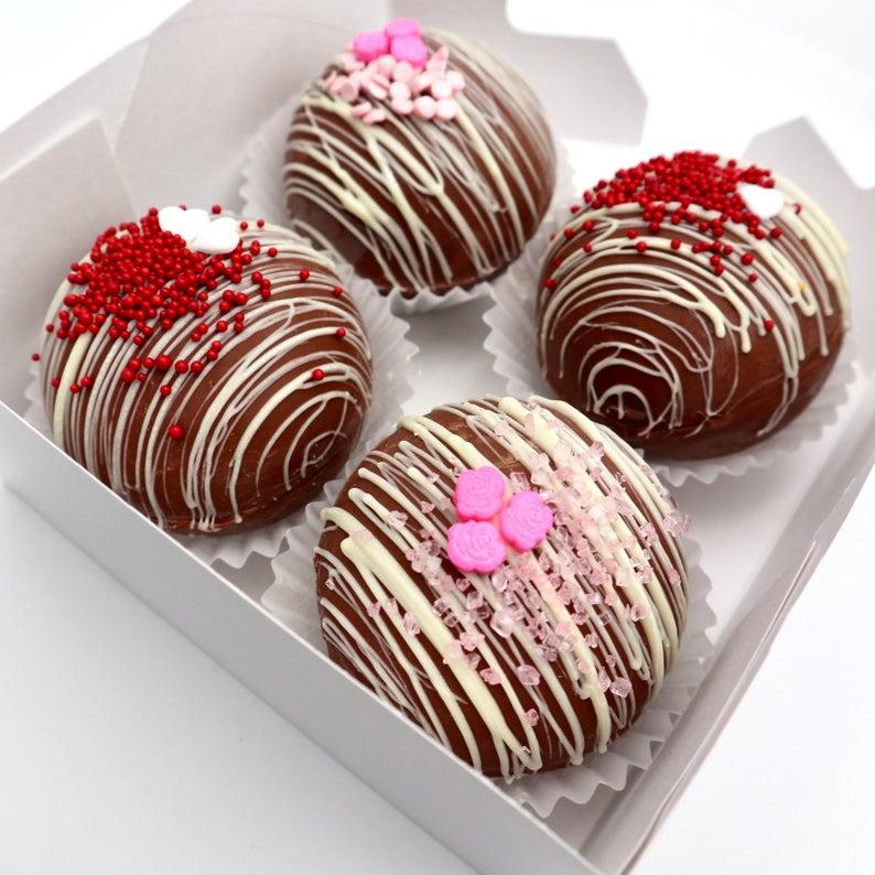 Hot Chocolate Bombs box of 4. Image via Etsy.