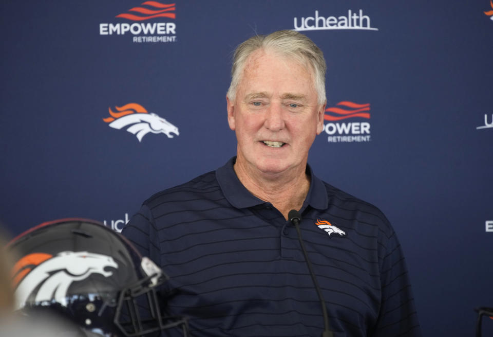 Joe Ellis, president of the Denver Broncos, responds to questions during a news conference on media day Tuesday, July 27, 2021, in Englewood, Colo., before the NFL football team opened training camp. (AP Photo/David Zalubowski)