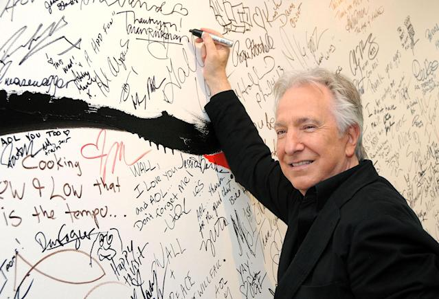 <p>British actor Alan Rickman died on January 14 after battling cancer. He was 69. Rickman was an accomplished stage actor when his star exploded with roles in two franchises: Die Hard and Harry Potter. — (Pictured) Actor Alan Rickman during AOL Build Speaker Series at AOL Studios In New York in 2015. (Desiree Navarro/WireImage via Getty Images) </p>