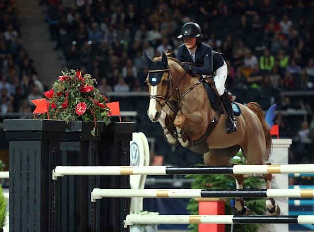 Equestrian - Sweden International Horse Show - International jumping - Qualification for Sweden Masters - Friends Arena, Stockholm, Sweden - December 1, 2017. Irma Karlsson of Sweden on her horse Balahe jumps. TT News Agency/Soren Andersson/via REUTERS ATTENTION EDITORS - THIS IMAGE WAS PROVIDED BY A THIRD PARTY. SWEDEN OUT. NO COMMERCIAL OR EDITORIAL SALES IN SWEDEN