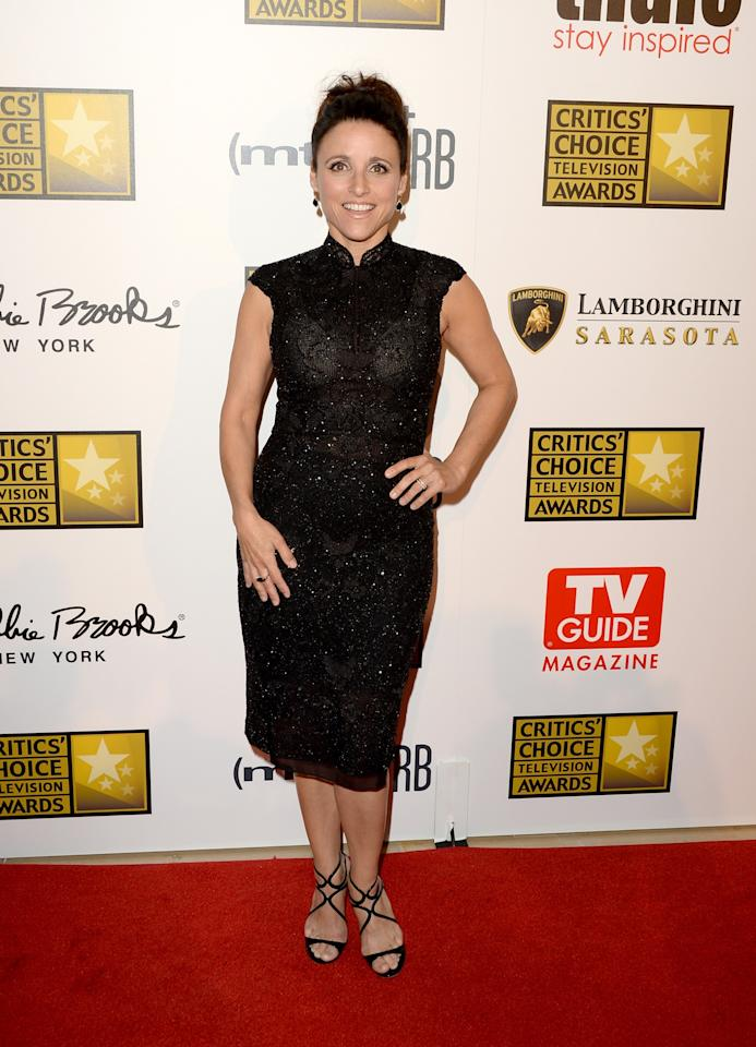 LOS ANGELES, CA - JUNE 10:  Actress Julia Louis-Dreyfus arrives at Broadcast Television Journalists Association's third annual Critics' Choice Television Awards at The Beverly Hilton Hotel on June 10, 2013 in Los Angeles, California.  (Photo by Jason Merritt/Getty Images)