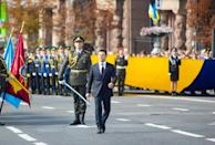 Ukrainian President Volodymyr Zelensky marched in the Independence Day military parade watched by thousands of spectators waving Ukrainian blue-and-yellow flags