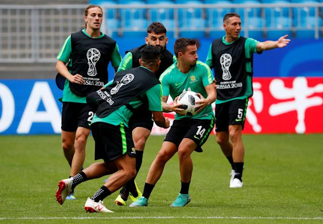 Soccer Football - World Cup - Australia Training - Samara Arena, Samara, Russia - June 20, 2018 Australia players during training REUTERS/David Gray