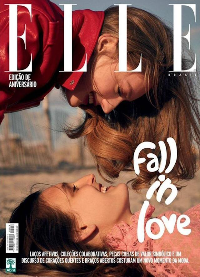 """The latest cover of <em>Elle</em>Brazil features two women about to """"fall in love."""" (Photo: Courtesy of Instagram.com/ellebrasil)"""
