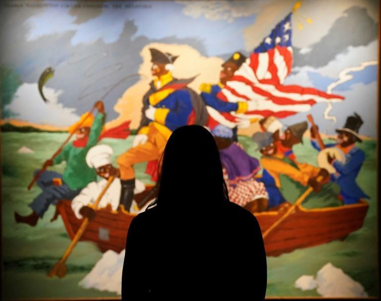 """Sotheby's is auctioning Robert Colescott's """"George Washington Carver Crossing the Delaware: Page from an American History Textbook"""""""