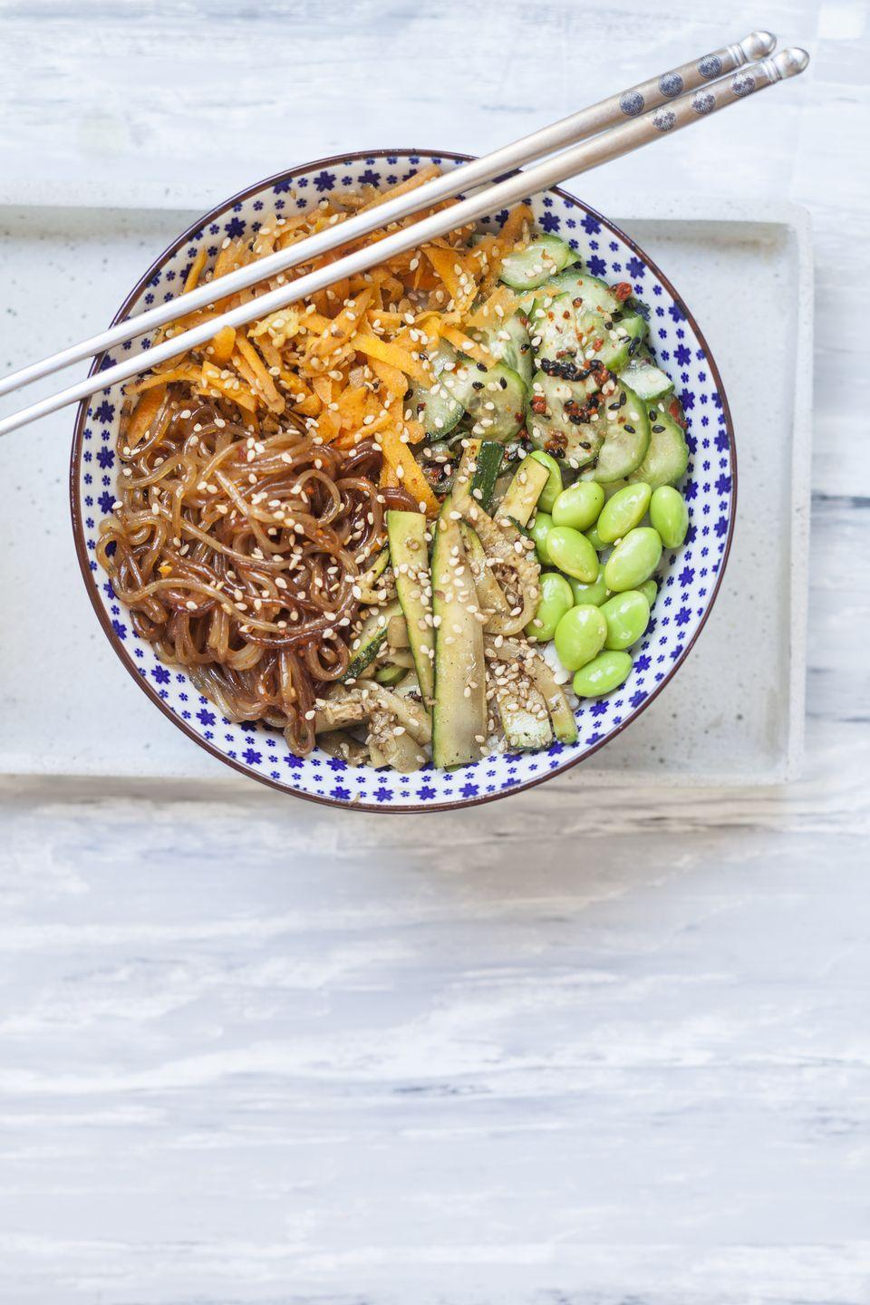 "<p>These Asian noodles have only 22 calories and almost 5 grams of fiber per cup, making them substantially healthier than regular pasta. They also don't require much prep—drain and rinse for cold recipes or pan-fry for hot ones. If you've never made them before, try this <a href=""https://www.prevention.com/food-nutrition/recipes/a20510765/shirataki-noodles-al-pesto/"" rel=""nofollow noopener"" target=""_blank"" data-ylk=""slk:Shirataki Noodles al Pesto"" class=""link rapid-noclick-resp"">Shirataki Noodles al Pesto</a> recipe.</p>"