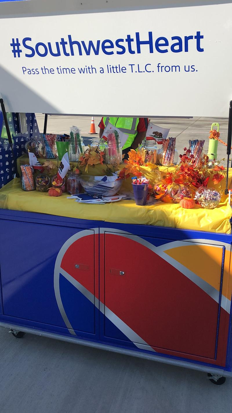 Southwest Airlines occasionally greets passengers getting off the back of the plane at Sacramento International Airport with a cart full of treats to pick from on their way to the terminal.