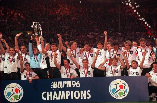 Germany lift the trophy at Euro 96