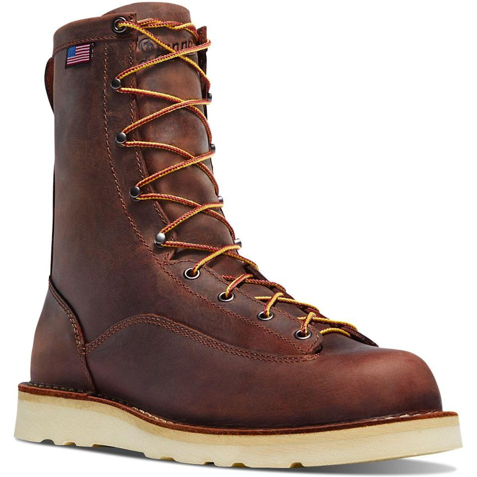 """<p>danner.com</p><p><strong>$210.00</strong></p><p><a href=""""https://www.danner.com/men/work/bull-run-8-brown-cristy.html"""" rel=""""nofollow noopener"""" target=""""_blank"""" data-ylk=""""slk:BUY IT HERE"""" class=""""link rapid-noclick-resp"""">BUY IT HERE</a></p><p>For boots a bit lighter on the technical side, look to Danner's workboot style. It sits a little bit higher, giving you ample ankle support and extra calf protection—and it's hyper-stable. </p>"""