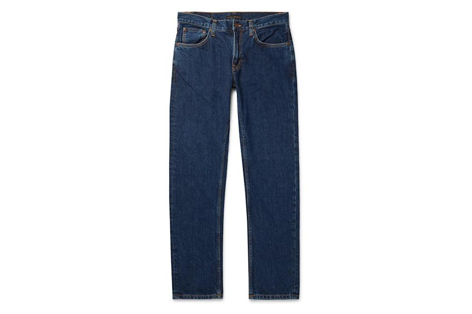 "$200, Mr Porter. <a href=""https://www.mrporter.com/en-us/mens/product/nudie-jeans/clothing/straight-jeans/gritty-jackson-slim-fit-organic-denim-jeans/30049528927158444"" rel=""nofollow noopener"" target=""_blank"" data-ylk=""slk:Get it now!"" class=""link rapid-noclick-resp"">Get it now!</a>"