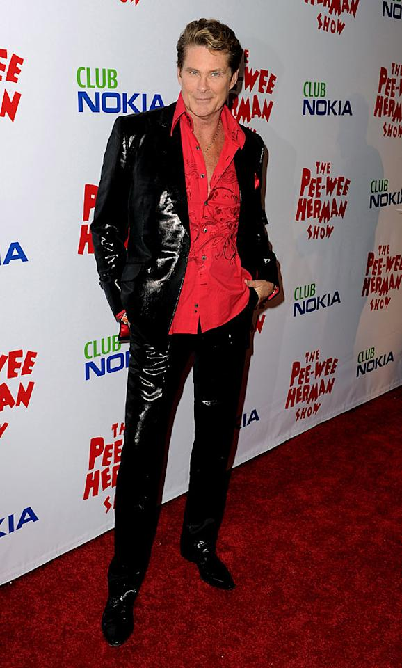 "Speaking of fashion faux pas, who let David Hasselhoff out of the house in this hot mess of an outfit? A 57-year-old in a vinyl suit? Really ... really? Kevin Winter/<a href=""http://www.gettyimages.com/"" target=""new"">GettyImages.com</a> - January 20, 2010"