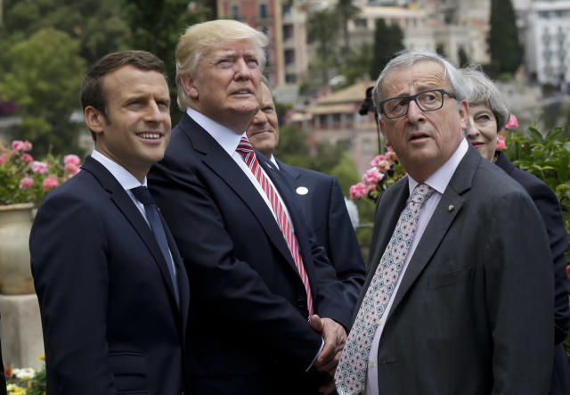 French President Emmanuel Macron, left, President Trump and EU Commission President Jean-Claude Juncker gather, in Taormina, Italy, May 26, 2017. (Photo: Luca Bruno/AP)