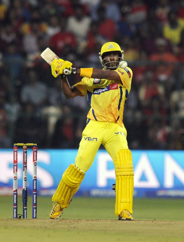 Dwayne Bravo of Chennai Super Kings bats during match 70 of the Pepsi Indian Premier League between The Royal Challengers Bangalore and The Chennai Superkings held at the M. Chinnaswamy Stadium, Bengaluru  on the 18th May 2013. (BCCI)