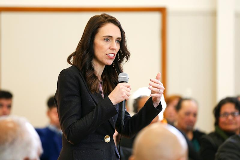 WELLINGTON, NEW ZEALAND - JULY 30: Prime Minister Jacinda Ardern speaks during a community meeting with COVID-19 community responders at Wainuiomata's Memorial Hall on July 30, 2020 in Wellington, New Zealand. Earlier in the day Prime Minister Jacinda Ardern announced a $27 million investment towards the rebuild of Naenae Pool as part of government's multi-billion dollar infrastructure package. Associate Housing Minister Kris Faafoi also announced an expansion of the Kainga Ora Homes and Communities Retrofit Programme to upgrade around 1500 older state houses at a cost of $500 million over the next two and a half years. (Photo by Hagen Hopkins/Getty Images) (Photo: Hagen Hopkins via Getty Images)